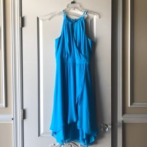 Blue high low halter dress from WHMB